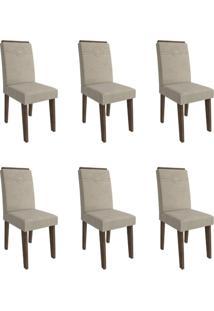 Conjunto Com 6 Cadeiras De Jantar Taís I Suede Marrocos E Bege