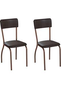 Conjunto Com 2 Cadeiras Nowra Tabaco E Cobre