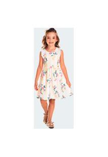 Vestido Pic Nic Infantil Jacquard Floral Amarelo