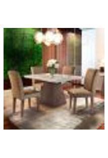 Conjunto De Mesa De Jantar Luna Com Tampo De Vidro Off White E 4 Cadeiras Grécia Suede Chocolate E Café
