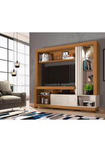 Estante Para Home Theater E Tv Até 50 Polegadas Frizz Naturale E Off White