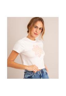 Camiseta Cropped Com Margarida Estampada Xadrez Vichy Manga Curta Decote Redondo Branca