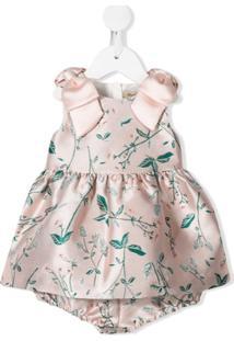 Hucklebones London Vestido Com Estampa De Folhas - Rosa