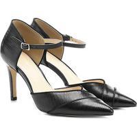 47d04c4006 Scarpin Couro Shoestock Salto Alto Bico Fino Semi Aberto Lizard