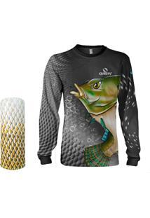 Camisa + Máscara Pesca Quisty Tilápia Bocuda Preto Proteção Uv Dryfit Infantil/Adulto - Camiseta De Pesca Quisty
