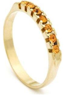 Meia Aliança Banhada Ouro 18 K Pedras Citrino - 1010005-Aro Horus Import Feminina - Feminino-Dourado