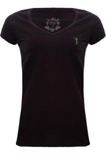 Camiseta Gola V Básica Aleatory Feminina - Feminino-Preto