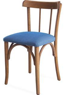 Cadeira Moderna De Madeira Estofada Justine - Stain Jatobá - Tec.930 Azul Claro - 43X47,5X78,5 Cm