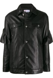 Red Valentino Ruffle Trim Leather Jacket - Preto
