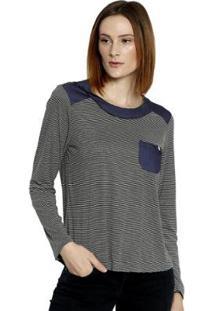 Camiseta Energia Fashion Plus Size Manga Longa Feminina - Feminino-Preto+Azul