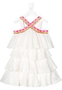 Stella Jean Kid Vestido Sem Mangas Com Babados - Branco