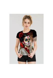 Camiseta Stompy Estampada Feminina Modelo 10 Preta