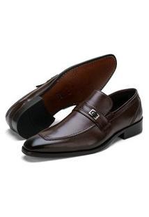 Sapato Social Fepo Store Couro Palmilha Almofadada Liso Marrom
