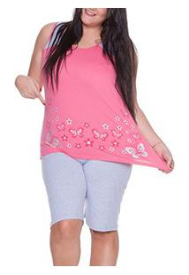 Pijama Regata 100% Algodão E-Pijama (5430) Borboletas Plus Size