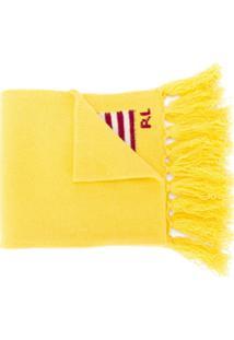 Polo Ralph Lauren Cachecol Com Franjas E Logo Bordado - Amarelo