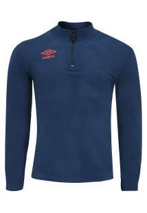 Blusa De Frio Fleece Umbro Twr Snip New - Masculino - Azul Escuro