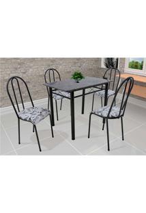 Conjunto De Mesa Com 4 Cadeiras Genebra Couro Sintético Preto E Branco