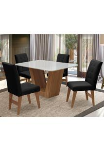Conjunto De Mesa Para Sala De Jantar Com 4 Cadeira Veneza-Dobue - Cedro / Branco Off / Preto Vlp