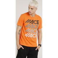 Camiseta Masculina Esportiva Ace Manga Curta Gola Careca Laranja e194b36dc59d1