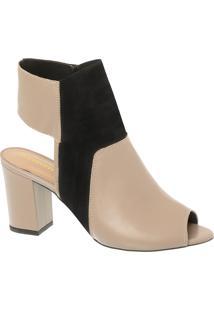 Sandal Boot Em Couro Taupy E Salto Bloco Alto