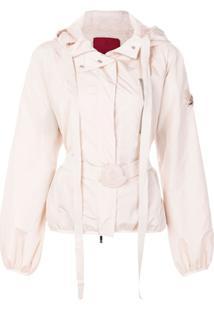 Moncler Jaqueta Com Cinto E Capuz - Rosa