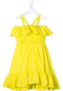 Msgm Kids Vestido Com Babados - Amarelo