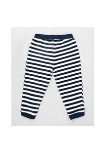 Calça Infantil Listrada Em Plush Azul Marinho