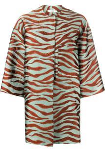 Odeeh Animal Print Cropped Sleeve Coat - Laranja