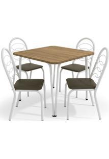 Conjunto Mesa Amur C/ 4 Cadeiras Holanda Cromado/Marrom Kappesberg