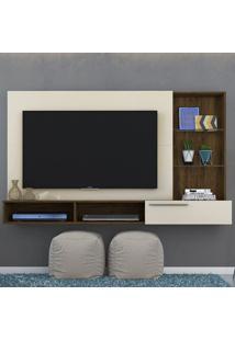 Painel Para Tv 1 Gaveta Ayla 265122 Off White/Savana - Madetec