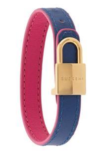 Buscemi Bracelete De Couro - Azul