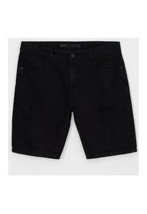 Bermuda Slim Com Puídos Em Jeans