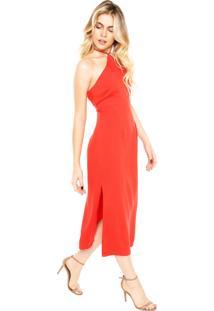 Vestido Ellus Midi Tencel Vermelho