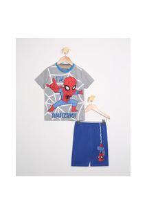 Pijama Infantil Homem Aranha Manga Curta Gola Careca Azul