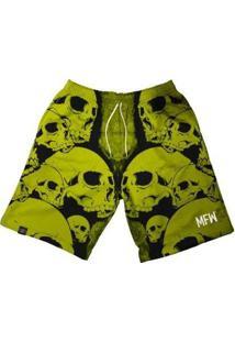 Bermuda Maromba Fight Wear Mfw Skulls Com Bolsos Masculina - Masculino-Amarelo