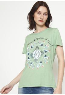 "Camiseta ""Colcci Denim Soul"" - Verde & Azul - Colccicolcci"