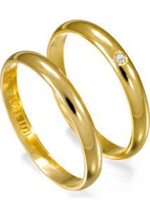 Aliança De Ouro Casamento Com Acabamento Liso E Diamante - As0011 + As0010