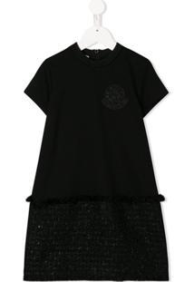 Moncler Kids Vestido Com Patch De Logo - Preto