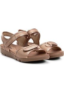 Sandália Campesi Papete Velcro Feminina - Feminino-Dourado