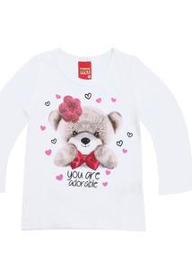 Camiseta Kyly Menina Estampa Frontal Branca