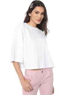 Camiseta Cropped Colcci Lettering Branca