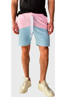 Bermuda Moletom Brohood Bicolor Azul E Rosa - Azul/Rosa/Ros㪠- Masculino - Algodã£O - Dafiti