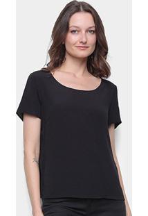 Camiseta Forum Ampla Feminina - Feminino-Preto