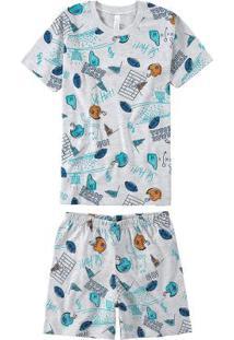 Pijama Cinza Estampado