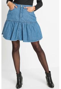 Saia Jeans Com Babado Azul