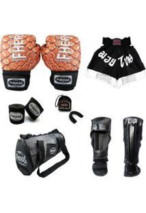 Kit Muay Thai Top Fheras - Luva Bandagem Bucal Caneleira Anatômica Bolsa Shorts - Unissex