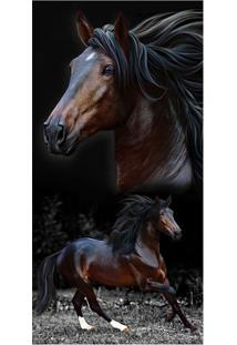 Toalha De Praia Brow Horses- Preta & Marrom Escuro- Buettner
