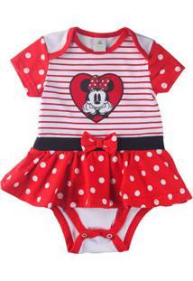 Body Vestido - Manga Curta - Minnie Mouse - Algodão - Listrado - Branco E Vermelho - Disney - G