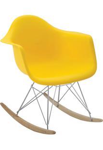 Cadeira Eiffel C/Braço Pp Amarela Base Balanco Rivatti
