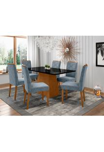 Conjunto De Mesa De Jantar Com Tampo De Vidro Jasmin E 6 Cadeiras Caroline Animalle Preto E Turquesa